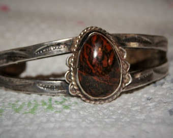 OLD PETRIFIED CUFF Navajo Sterling c1950