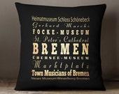 Bremen Germany Pillow / Bremen Germany Decorative Pillow / Bremen Souvenir / Germany Souvenirs Bremen /Bremen Gift/Bremen Decoration-LHA-234