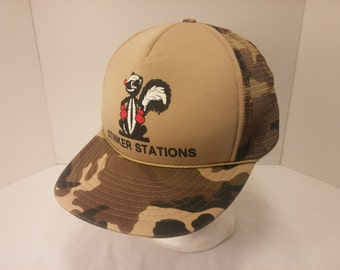 Vintage 1990s Snapback Baseball Cap - Stinker Stations -  Hipster, Auto Repair, Tire Chain, Gearhead, Retro, Mens Accessories