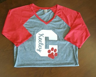 School Spirit shirt with glitter letter and mascot