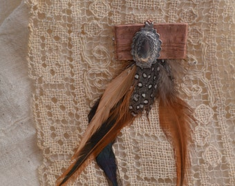 Copper & Feather Brooch #2.  FREE SHIPPING.