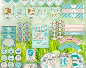 Hot Air Balloon Party Decor - peach & aqua - Newborn or Birthday - Digital Printable