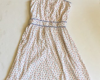 vintage flower heart print day dress ladies xs small
