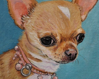 Chihuahua portrait acrylic on canvas board