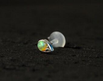Lime green Opal in teardrop shape casting push in 16g bio flexible tragus /forward helix / lip / medusa piercing (1pc)