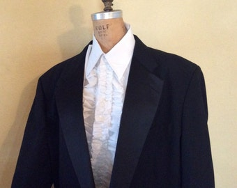 52XL Vintage 80s Black Tuxedo Jacket with Tails Vampire