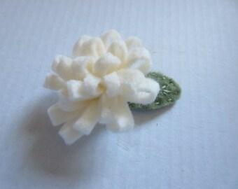 cream felt hair clip