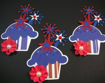 4th of July - Memorial Day Paper Cupcake Scrapbook Embellishment, Cupake Card Topper, Patriotic Embellishment