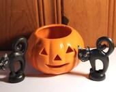 Vintage Ceramic Pumpkin Votive Holder and Vintage Plastic Black Cat Toppers Jack O Lantern Halloween Trick or Treat