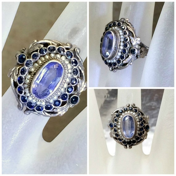 Art Nouveau Sapphire Seed Pearls Ring, Antique Pale blue and Dark Sapphire Silver Ring OOAK , Antique Ring, Belle Epoche Ring