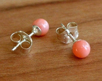 Natural Pink Coral Earrings, Coral Bead Studs, Small 4 mm size bead, Sterling Silver posts and earbacks