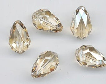 Six special Swarovski crystals - art 5500 - 18 x 12 mm - crystal golden shadow