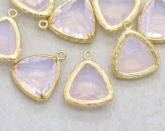 Wholesale Lot - Triangle Jewel Charms ROSE WATER Faceted Glass in 24k GOLD Plated Setting Drop ...