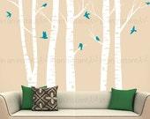 Tree Wall Decals | Five Birch Trees with Soaring Flying Birds Vinyl | Custom Baby Nursery, Living Room, Children's Room Interior Designs 019