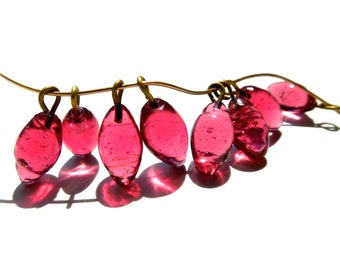 SUPPLY: 20 Rustic Pink Glass Charms with Brass Wire - (3-B1-00003206)