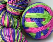 "Self Striping Sock Yarn, Superwash Merino and Nylon Fingering Weight, in ""Allium"""