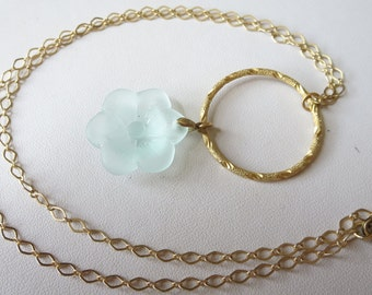 Sea Foam Sea Glass Gold Flower Necklace