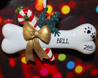 Personalized Dog Bone Christmas Ornament -
