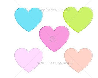 Hearts, value set of 5 colors, digital graphic, instant download, colorful clip art for scrapbooking and crafts