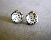 Swallow Bird Stud Earrings: Blue Glass
