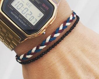 Mens bracelet - Beadstheater friendship bracelet in waxed nylon cord