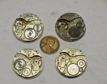 4 vintage 0s Elgin 7j watch movements E-442
