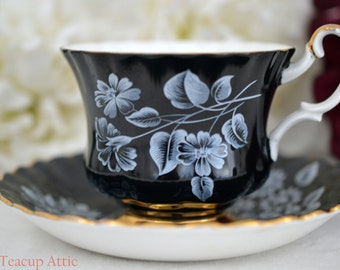 ON SALE Royal Albert Black Teacup and Saucer With White Flowers, Un-named Pattern 315, English Bone china,  ca. 1970-1980