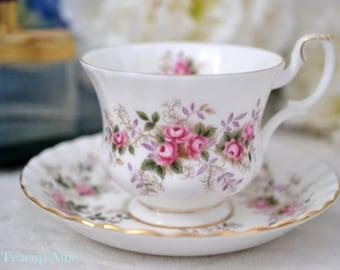 ON SALE Royal Albert Teacup Set  Lavender Rose, English Bone China Teacup Set, ca. 1980-2002