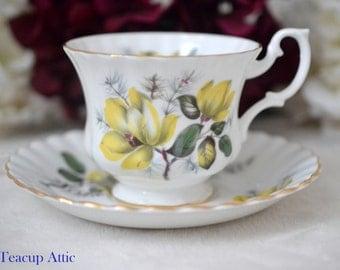 ON SALE Royal Albert Vintage Yellow  Floral Teacup and Saucer Set, Wedding Gift, English Teacup,  c. 1960-1970