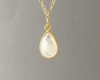 Tiny Gold Moonstone Teardrop Necklace
