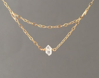 Tiny Solitaire Layered Herkimer Diamond Gold Fill Necklace also in Silver and Rose Gold Fill