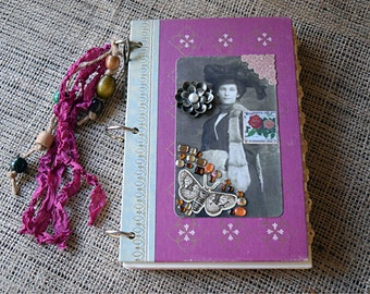 Junk Journal - Reader's Digest Book Covers - Jane Eyre, Old Photograph Collage, Mixed-Paper Journal, Altered Art Notebook, Vintage Chic