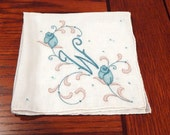 Vintage Embroidered Handkerchief Initial W Hankie  1950's Accessory Gift for Her or Him