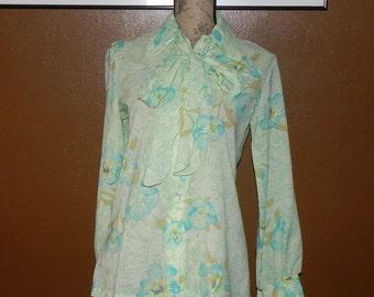 Vintage Blouse Tie Front Secretary Blouse 1970's Button Up Spring Blouse Small Medium