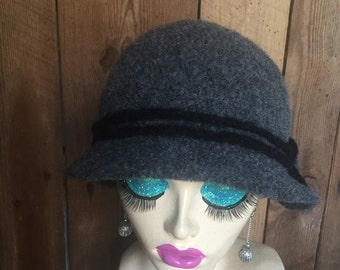 Charcoal Grey Crocheted Felted Cloche Flapper Hat 'Molly'