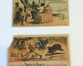 Antique Trade Cards 1882 Cigar Advertising Card Tansill's Punch Cigar Black Americana Happy Hours on The Quay and Bear-ly an Escape
