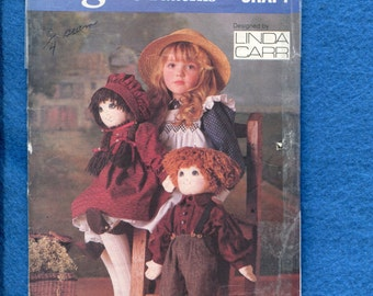 1986 Vogue 9699 Soft Prairie Dolls Boy & Girl with Outfits by Linda Carr Size 22 inches