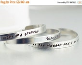 Valentines Day Gift Hand Stamped Cuff, Personalized Bracelet, Friendship bracelet, two metal cuffs, name bracelet