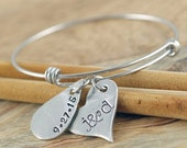 Valentines Day Gift Personalized Bangle Bracelet - Name Bracelet - Silver Bangle Charm Bracelet - Gift for Her - Custom