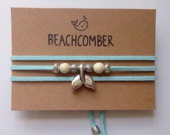 wrap bracelet, mermaid jewelry, gift for her, beachcomber faux suede bracelet, beach bohemian bracelet