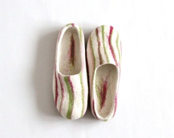 Women house shoes - felted wool slippers white with pink green stripes - Christmas gift