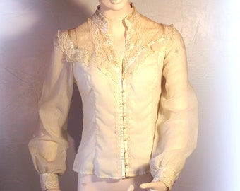 70's Vintage Blouse. Jessica's Gunnies of San Francisco, Cream Ecru with Pearl Buttons, Lace & Ribbon Trim, Women's size S