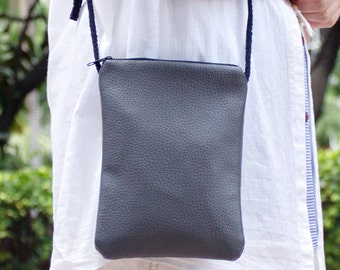 Cell phone bag / Smart phone bag / Shoulder purse / Crossbody bag ~ vegan leather (Gray)  (D5)