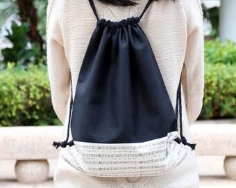 Drawstring backpack/ Drawstring bag/ gym bag ~ Music (B63)