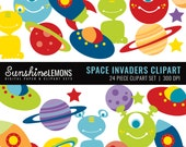 Space Alien Clipart - Moon Clipart - Alien Clipart - Rocket Clipart - Clipart pack set of 24 - COMMERCIAL USE Read Terms Below