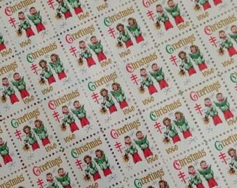 Sheet of 1960 Vintage Christmas Carolers Stamps