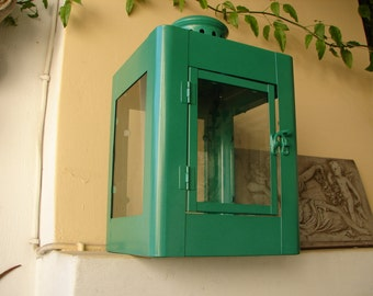 Vintage Art Deco style,large,square,green,iron/tin & glass, lantern,candle holder-door on one side-ring to hang or carry