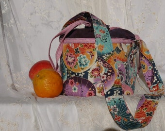 Lunch bucket lunch pail beautiful Asian print lunch tote with hand died purple fabric bag again