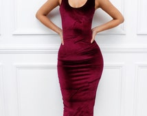 "Glamzam New Womens Ladies ""Marnel"" Sleeveless Scoop Neck Bodycon Burgundy Velvet Velour Pencil Midi Dress"