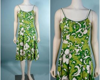 Vintage 60s Hawaiian Tiki Polynesian Luau Dress/ Strappy Low Cut Back Summer Dress/ Batik Floral Print De Weese Design Sta Cup Bra SZ S